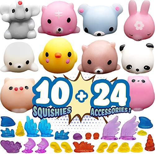BunMo Squishy Toy Pack - Mochi Squishy Toys with Stick on Kawaii Things - Squishy Animals for Claw Machine and Fidget Squishies Pack