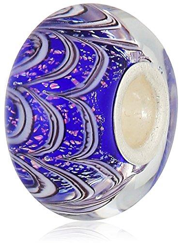 chamilia jack frost- sapphire color with murano glass italian style single ()