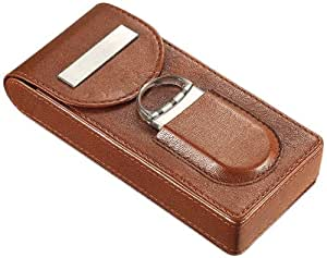 Visol VCASE706 Caldwell Brown Leather Cigar Case with Cigar Cutter