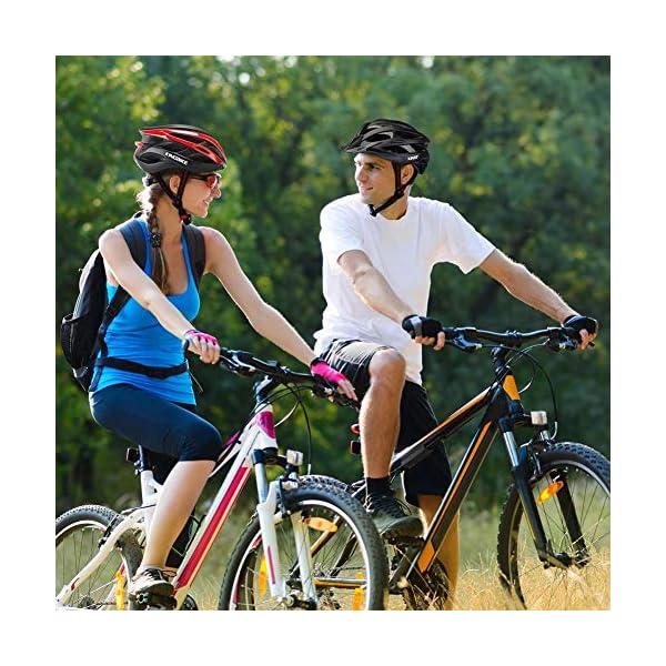 earlyad Casco per Bicicletta Protezione di Ciclismo sicura Regolabile Ventilazione del Casco Copricapo da Motociclista con luci per Casco da Bici per Adulti 6 spesavip