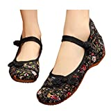 Small Fowers Stamp Mary Jane Canvas Women Chinese Knotting Shoes Casual Flats Soft Sole Shoes Black 8 B(M) US