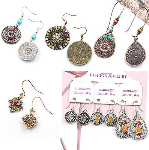 Vintage Bohemian Earrings Set National Retro Rhinestone Ear Stud Eardrop Drop Dangle Earrings Statement Earrings Long Boho Earrings for Women Girls