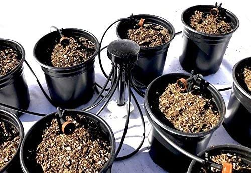 12 Plant Drip Grow Kit – Starter Hydroponics Irrigation Bubbler Manifold Kit – Includes 100 ft 1 8 Distribution Tubing, Emitter Stakes, Manifold Plugs Pots Sold Separately 1 GPH