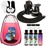 Complete Belloccio Premium (Model T75) Professional Sunless HVLP Turbine Spray Tanning System; Simple Tan 4 Solution Variety Pack, Pink Tent, Cups, Accessories & DVD