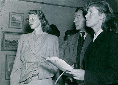 Vintage photo of Delegates visiting the art exhibition in T228;by