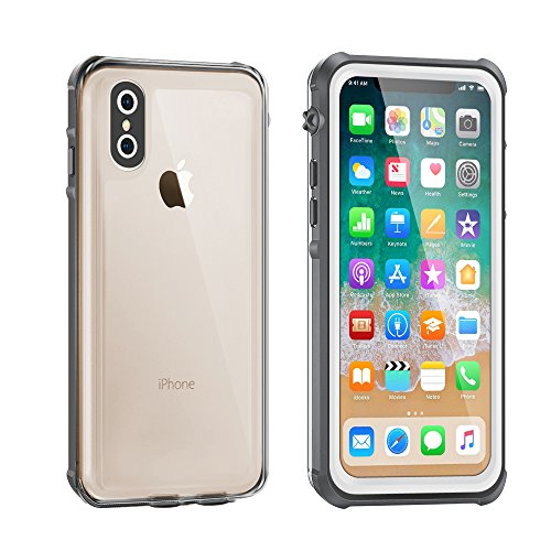 iPhone X Waterproof Case, Eonfine iPhone X Clear Protective Case IP68 Certified With Touch ID Screen Protector Ultra Slim Shockproof Case for iPhone X 5.8 inch White, Wireless Charging Supported
