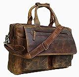 Devil Hunter 16 inch Vintage Buffalo Leather Messenger Satchel Laptop Briefcase Men's Bag Crazy Vintage Leather Messenger (BROWN)