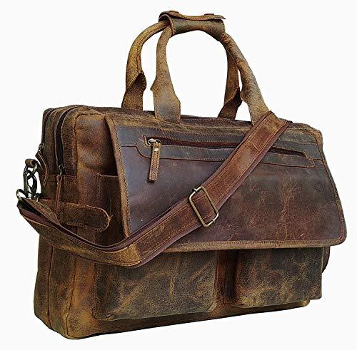 Devil Hunter 16 inch Vintage Buffalo Leather Messenger Satchel Laptop Briefcase Mens Bag Crazy Vintage Leather Messenger