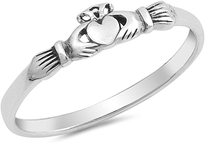 Claddagh Heart Promise Ring New .925 Sterling Silver Friendship Irish Band