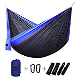 G4Free Double Camping Hammock - Portable High Strength Hammock - Lightweight Blend Color Nylon Fabric Parachute for Outdoor. Hammock Straps & Steel Carabiners include (Blue/Dark Blue)