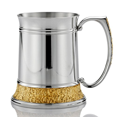 ロイヤルセランゴール ピューター ビアマグ クラシックエクスプレッションズ ゴールド(光沢つやあり&24金文様) 560ml B017Q5Y854