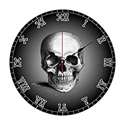 Moonluna Wall Clock Skull Bones Skeleton Numerals Gothic Nursery Wooden Wall Clock Battery Operated Roman Numerals Silent Non-Ticking 14 Inches Kids Clock