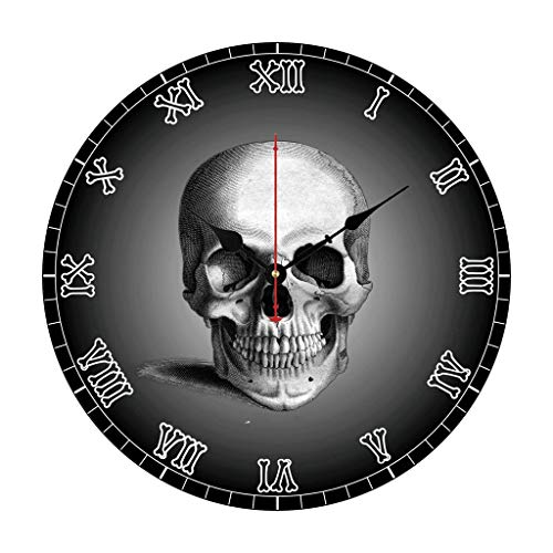 Wall Clock Skull Bones Skeleton Numerals Gothic Nursery Wood Clock for Bedroom Decor Battery Operated Silent Non-Ticking 12 Inches Kids Clock