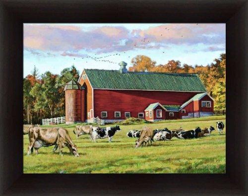 Autumn Splendor by Bonnie Mohr Red Barn Cow Farm Framed Art Print Wall Decor
