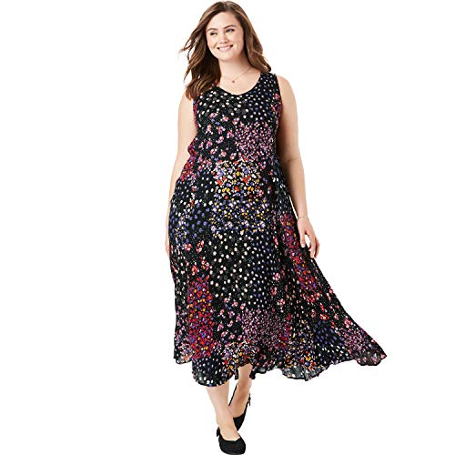 Woman Within Women's Plus Size Sleeveless Crinkle A-Line Dress - Black Ditsy Patchwork, S ()