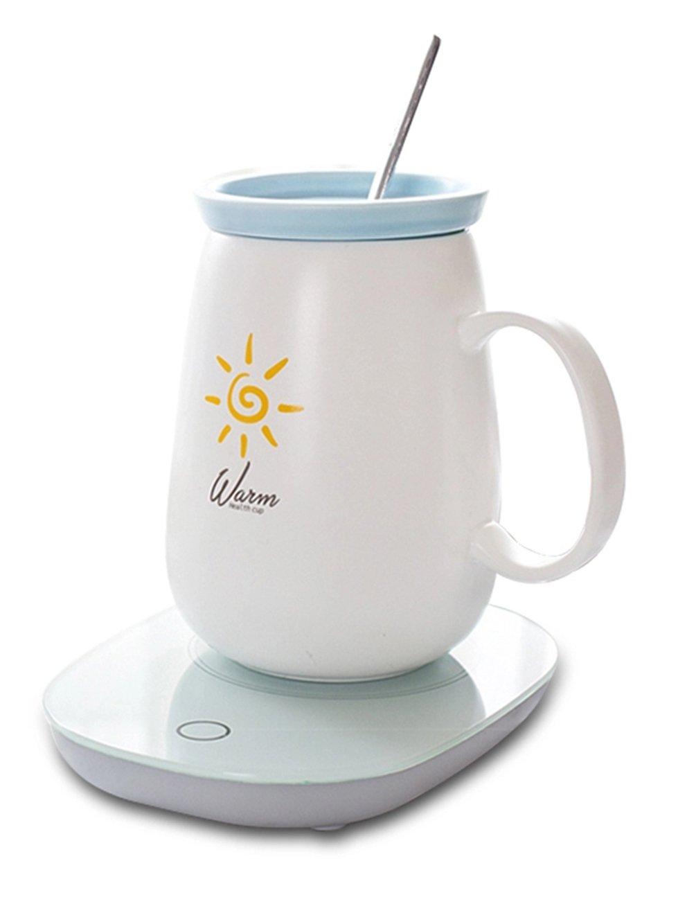 Auto Shut On / Off Coffee Beverage Mug Warmer - BZY1 Electric Constant Temperature 55℃/131℉ Waterproof Cup Heater (Include Coffee Mug & Spoon)