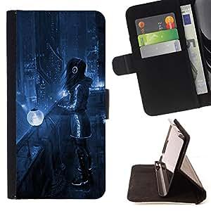 - FUTURISM HEADPHONES NIGHT ART LIGHTS CITY BLUE - - Prima caja de la PU billetera de cuero con ranuras para tarjetas, efectivo desmontable correa para l Funny HouseFOR Samsung Galaxy S5 V SM-G900