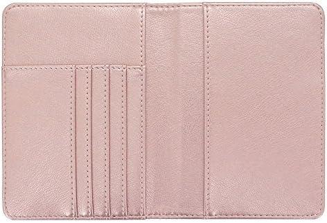Passport Holder Travel Cover Case Rose Nathalie Leather RFID Blocking Wallet for Passport