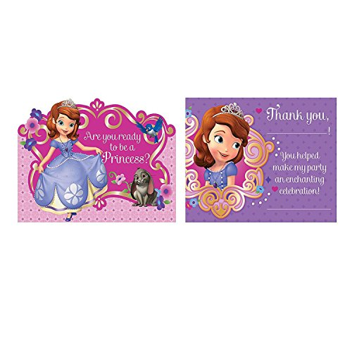 Bargain World Paper Sofia The First Invitations And Thank You Cards (With Sticky (Sofia The First Thank You Notes)