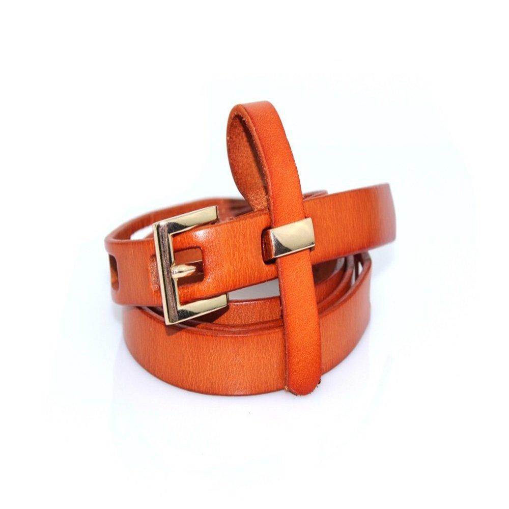 Melodycp Elegante Cinturón Reversible de Cuero para Mujer Cinturón clásico de Cuero Genuino para Mujer Apuesto para Pantalones de Vestir Elegante (Color : Naranja, tamaño : XXL)