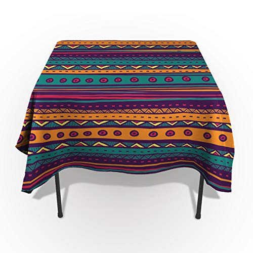 Tribal Tablecloths for Square 60 x 60-inch Table Cover, Cotton Linen Fabric Table Cloth for Dining Room Kitchen, Striped Retro Aztec Pattern with Rich Mexican Ethnic Color Folkloric Print, (Round Room Dining 60')
