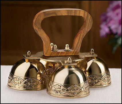 (Religious Gifts Embossed Brass 4-Bell Altar Bells with Wood Handle, 6 1/4)
