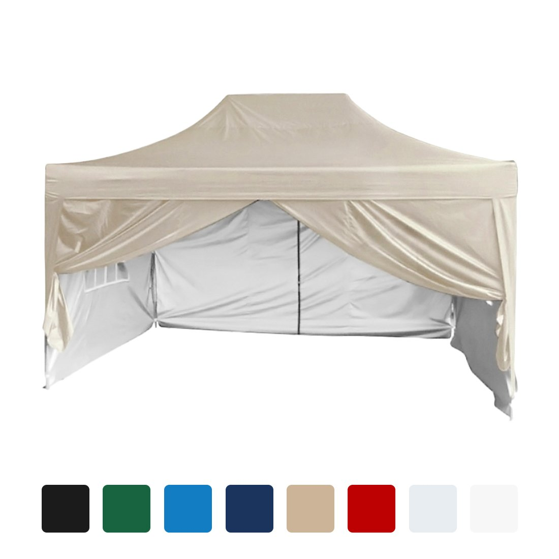 Quictent Silvox Waterproof 10'x15' EZ Pop Up Canopy Gazebo Party Tent Portable Pyramid-roofed 100% Waterproof-8 colors (Beige)