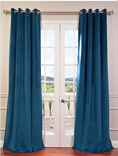 Velvet Eyelet - Fascination Royal Window/Door 100% Thick Cotton Velvet Lined Blackout Eyelet/Gormmet Curtain-46''w X 72''h-Teal