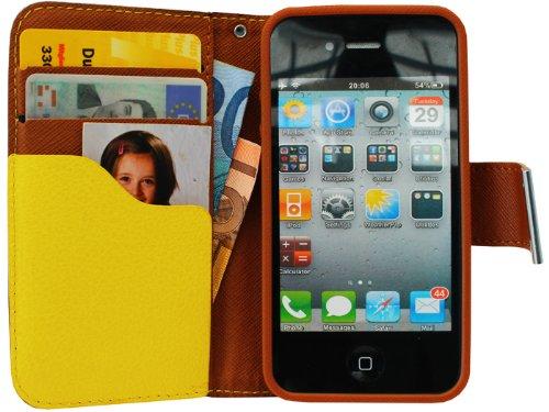avci Base Étui de protection à rabat pour Apple iPhone 4/4S Jaune/Marron