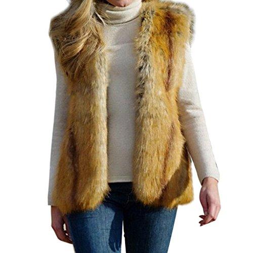 Hee Grand Ladies Faux Fur Winter Warm Evening Elegant Vest Chinese M