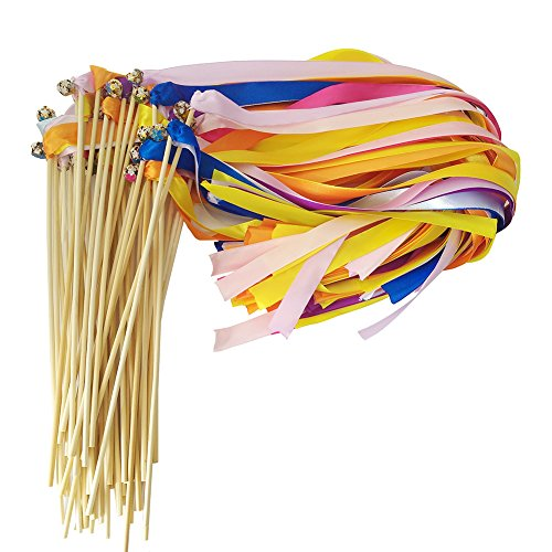 Hangnuo Pack of 30 Wedding Christmas Birthday Party Silk Lace Ribbon With Bells Streamers Wands Fairy Stick Mix Color