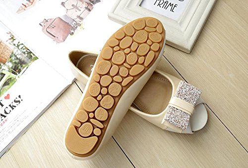&huo Zapatos de boca de pescado femenino, sandalias planas abiertas del dedo del pie, zapatos solos con los zapatos planos, de gran tamaño 43