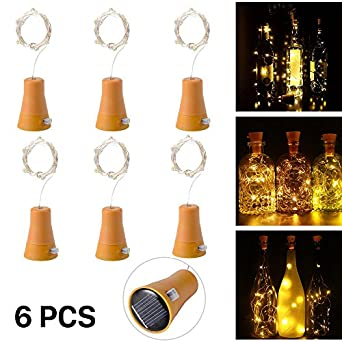 Amazon 6pcs 10 led solar cork wine bottle fairy light with 1m 6pcs 10 led solar cork wine bottle fairy light with 1m copper wire shape bar lamp for bottle diy party home decor wedding christmas and halloweenwarm keyboard keysfo Image collections