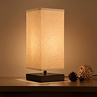 minimalist table lamp bedside desk lamp aooshine nightstand lamps with solid wood and retro square fabric shade for bedroom dresser living room