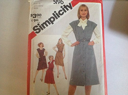 Vintage Simplicity 5196 Sewing Pattern Misses Set of Button Front or Side-tie-wrap Jumpers Sizes 12-14-16 (Diy Hippy Costume)