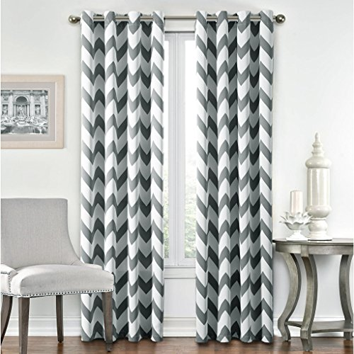 FlamingoP Light Blocking Chevron Insulated Blackout Drapes Printed Window Curtains for Winter, Grommet Top, Set of Two Panels, each 63 by 52- Gray