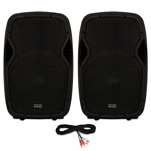 "Acoustic Audio AA15BT Powered 2000 Watts 15"" Bluetooth Speaker Pair 2 Way USB MP3 Players"
