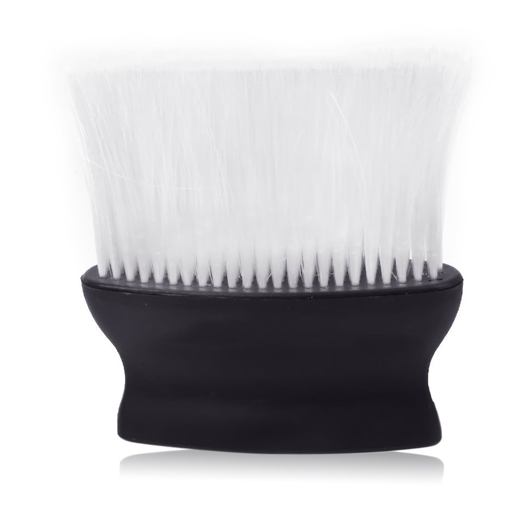 Fiber Bristles Neck Face Duster Clean Brush Hair Tool for Barber Salon Stylist Black Handle White Hair Vococal