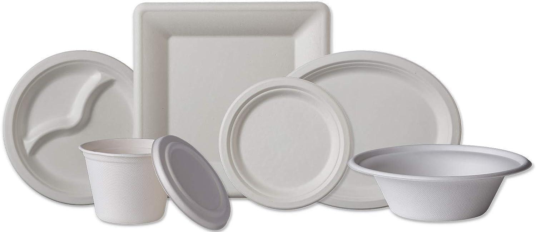 Blanc Biodeck Assiette carr/ée Compostable et biod/égradable 8 inch//20 cm lot de 50