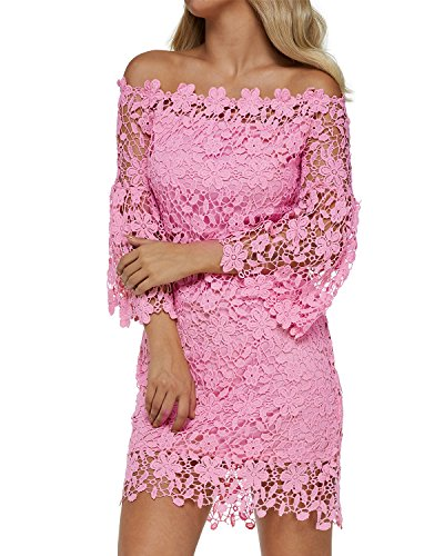 Auxo Women Off Shoulder Floral Lace Dress Vintage Crochet Bodycon Flared Sleeve Midi Party Cocktail Dressess Pink L