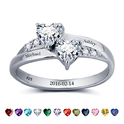 Lam Hub Fong Personalized Name Rings 2 Simulate Birthstones Rings Silver Women Couple Promise Engagement Rings Band (5)