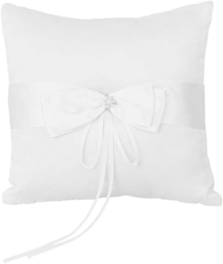 TOOGOO bolsa almohadilla del anillo de marfil satinado con perlas de imitacion flor en la fiesta de boda