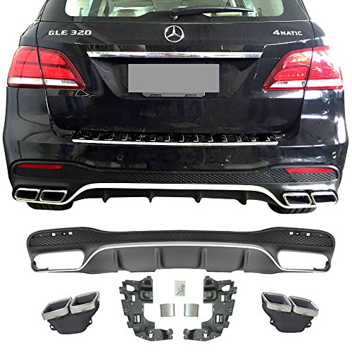 Rear Diffuser Fits 2016-2018 Mercedes Benz GLE-Class | Unpainted Black PP Polypropylene GLE63 With Chrome Tip Muffler by IKON MOTORSPORTS | - Mufflers Rear Benz Mercedes