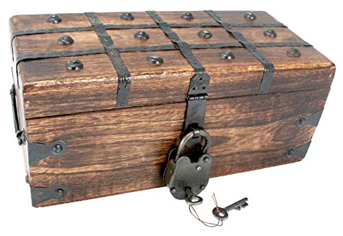 WellPackBox Large Wood Treasure Chest Trunk Decorative Box Antique Style Lock And Skeleton Key 12 x 6 x 5