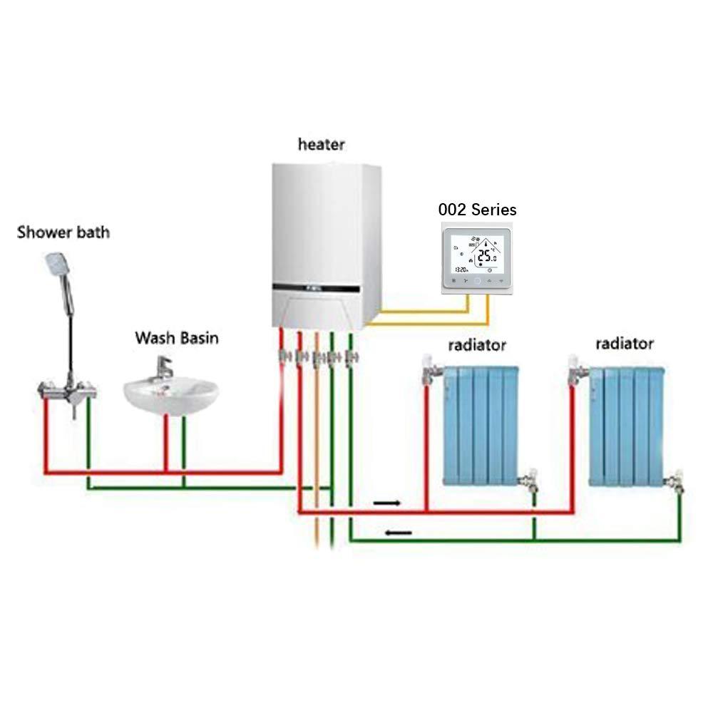 BECA 002 Serie 3//16A Pantalla t/áctil LCD Agua//Calefacci/ón el/éctrica//Caldera Termostato de control de programaci/ón inteligente con conexi/ón WIFI Calentador de Calderas, Blanco completo