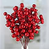 Factory Direct Craft Package of 12 Holiday Red Artificial Berry Embellishing Picks for Holiday and Home Decor