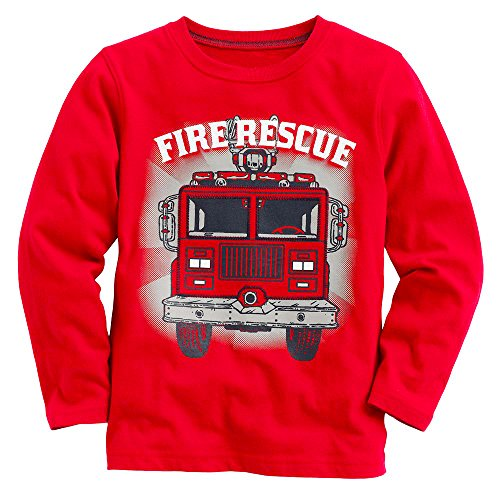 Endymion Meow Baby Boy Long Sleeve Fire Truck Red Tee