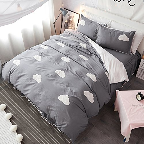 MAXYOYO Girl Furry Little Ball Edge Bed Skirt Cotton Bedding Set Full Size(1 Duvet Cover+ 1 Flat Sheet+ 2 Pillow Shams), Embroidery Grey Cloud Pattern Duvet Cover Set for Girls/Women/Lady