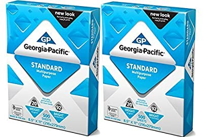 GP Copy and Print Paper, 8.5 x 11 Inches Letter Size, 92 Bright White, 20 Lb, 2 Reams (1000 Sheets)