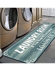 HEBE Laundry Room Decor Floor Rug Nonslip Rubber Backed Floor Mats for Washhouse Mudroom Waterproof Kitchen Mat